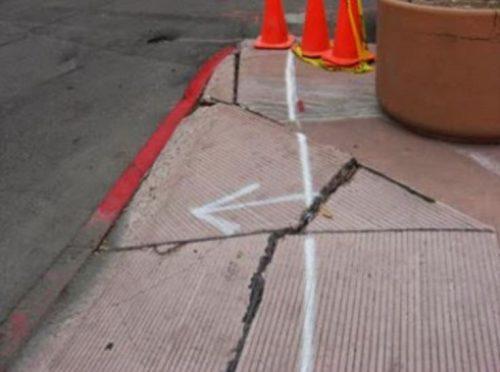 Concrete sidewalk repair in progress in Mesquite, TX